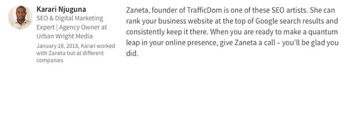 Testimonials agency santa barbara seo marketing TrafficDom