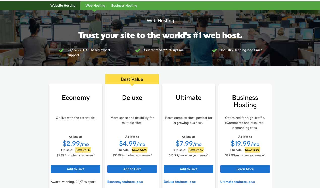 GoDaddy Hosting plans
