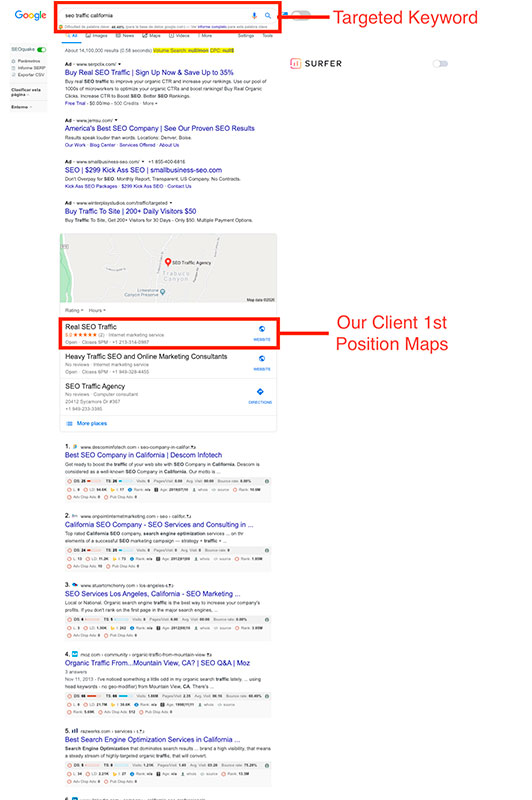 TrafficDom SEO ranking Real SEO Agency Maps