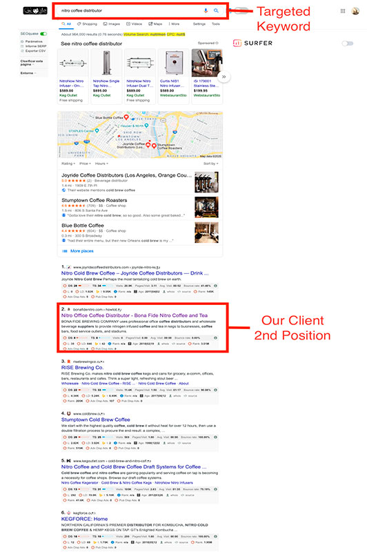TrafficDom SEO ranking results-for Bona Fide